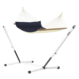 Kingsize Spreader Bar Hammock blue with Nautico powder coated steel stand