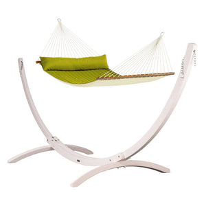 Kingsize Spreader Bar Hammock green with Canoa wood stand white