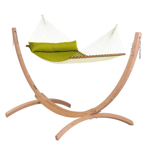 Kingsize Spreader Bar Hammock green with Canoa wood stand caramel