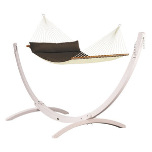 Kingsize Spreader Bar Hammock brown with Canoa wood stand white