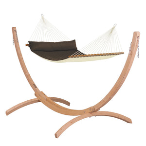 Kingsize Spreader Bar Hammock brown with Canoa wood stand caramel
