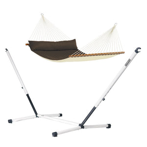 Kingsize Spreader Bar Hammock brown with Nautico powder coated steel stand