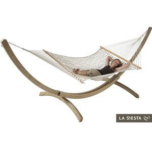 Kingsize Spreader Bar Hammock ecrú with Canoa wood stand caramel