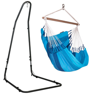 Hammock Chair blue with powder coated steel stand antracite