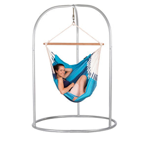 Hammock Chair blue with powder coated steel stand silver