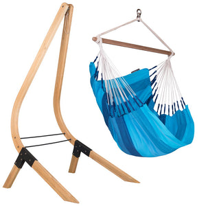 Hammock Chair blue with wood stand