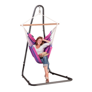 Hammock Chair purple with powder coated steel stand