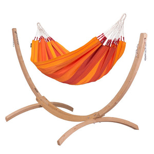 Single Classic Hammock orange with Canoa wood stand