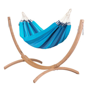 Single Classic Hammock blue with Canoa wood stand