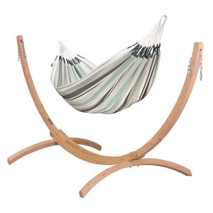 Double Hammock olive with Canoa wood stand