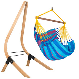 Hammock Chair blue and purple with wood stand