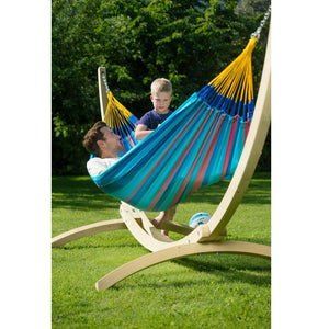 La Siesta Single Classic Hammock Blue and Purple with Canoa stand