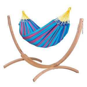 Single Classic Hammock blue and purple with Canoa wood stand