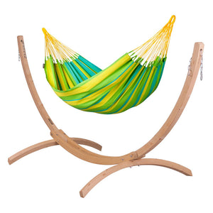 Single Classic Hammock green with Canoa wood stand