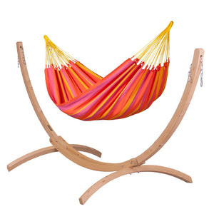 Single Classic Hammock mandarine with Canoa wood stand