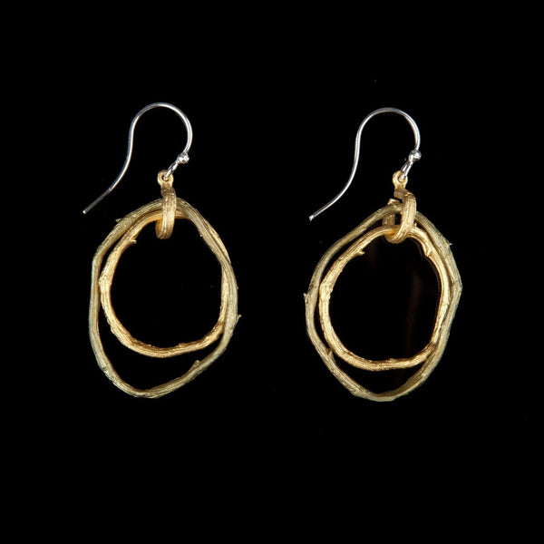 Petite Driftwood Earring - Double Hoop Wire Patina/Gold
