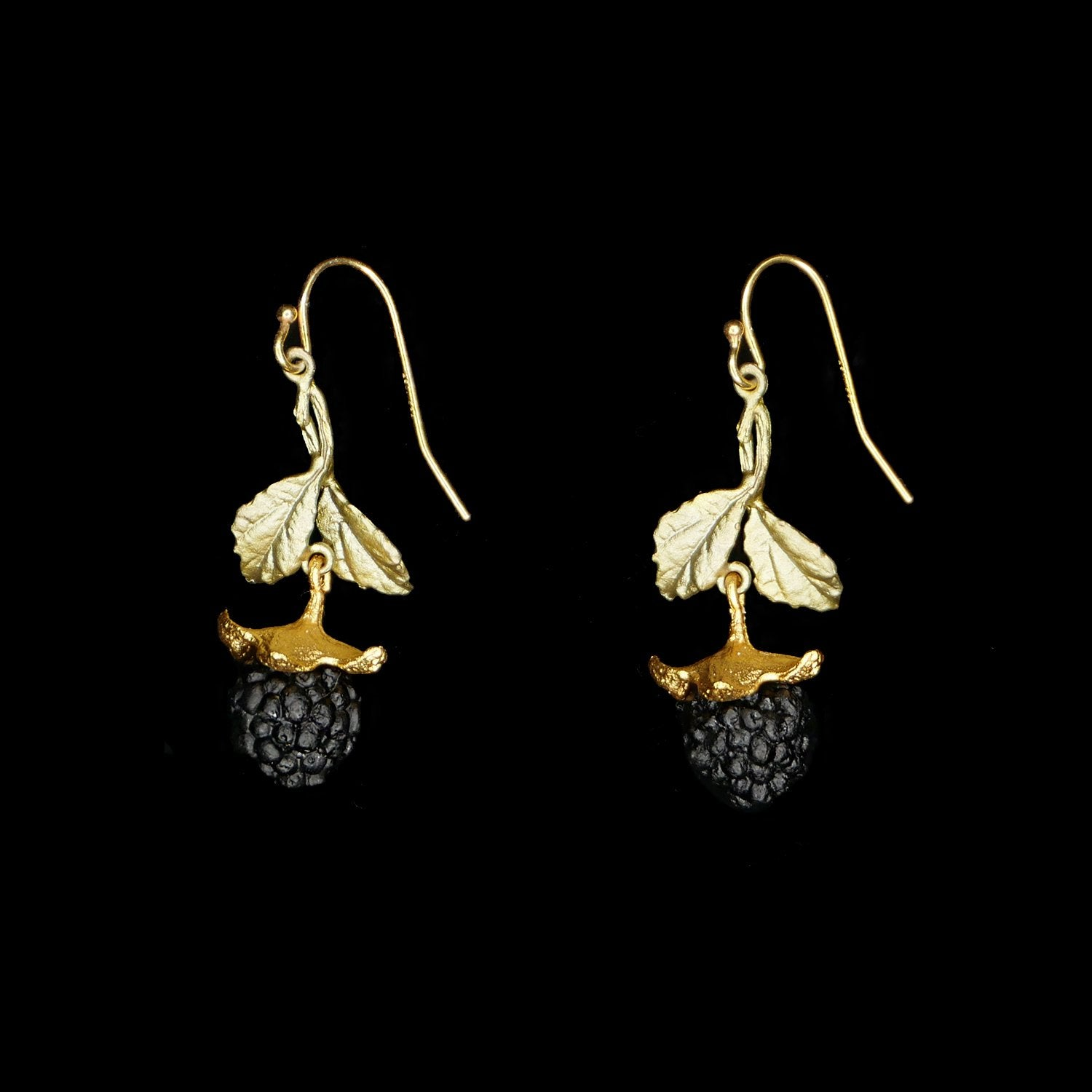 Blackberry Earrings - Leaf Dangle Wire