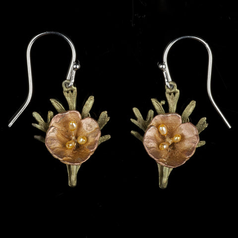 California Poppy Earrings - Leaf Wire