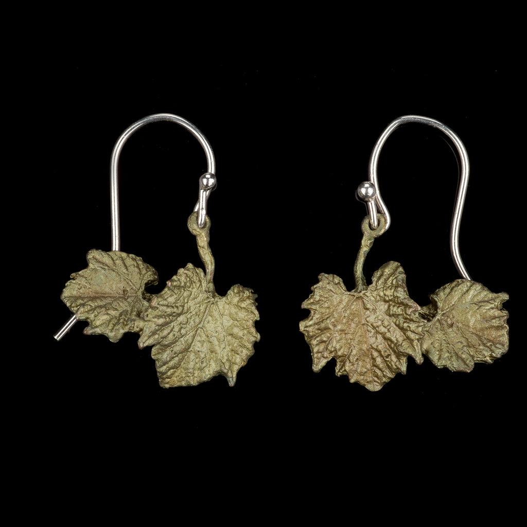 Grape Vines Earrings - Double Leaves