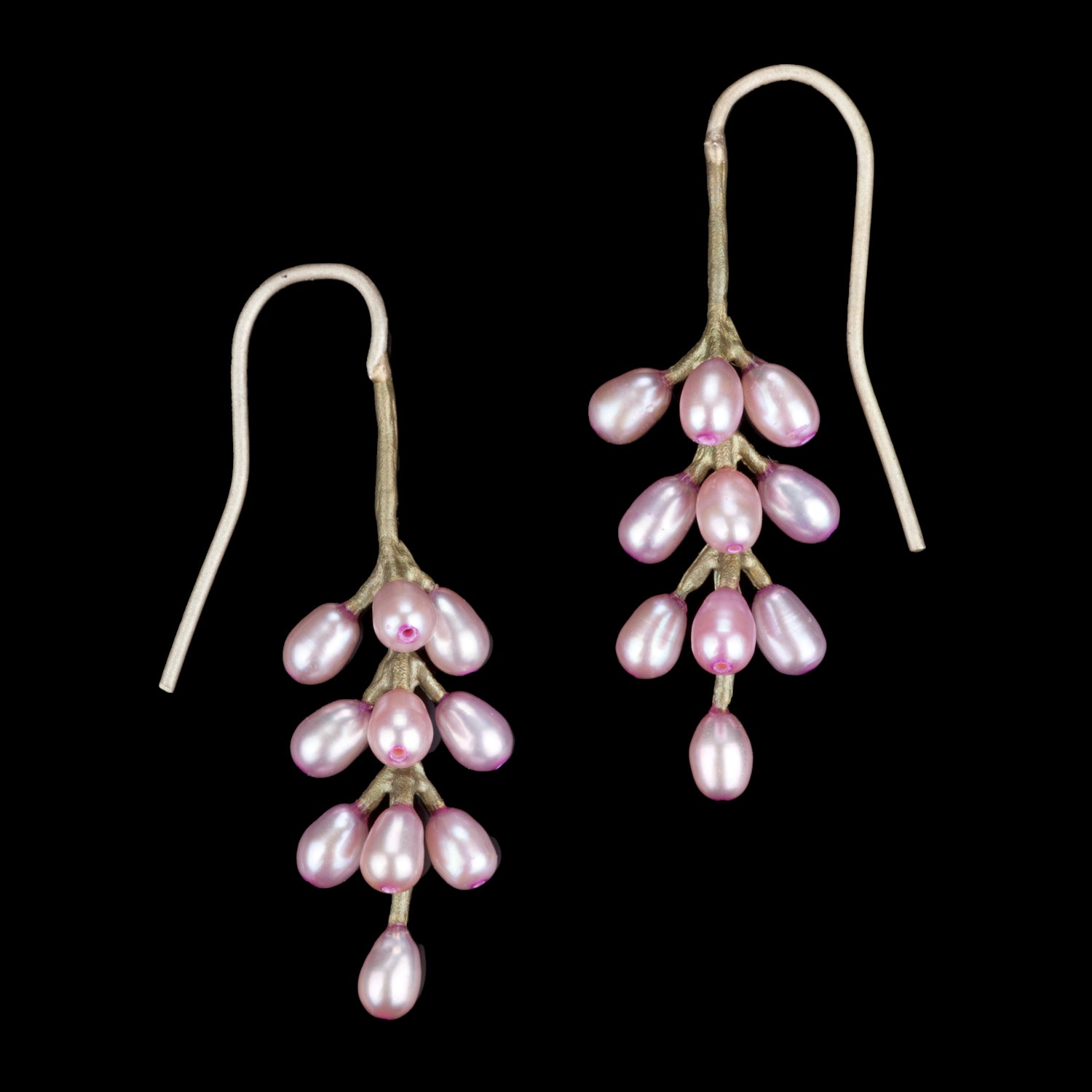 French Lavender Earrings - All Pearl Wire Drop