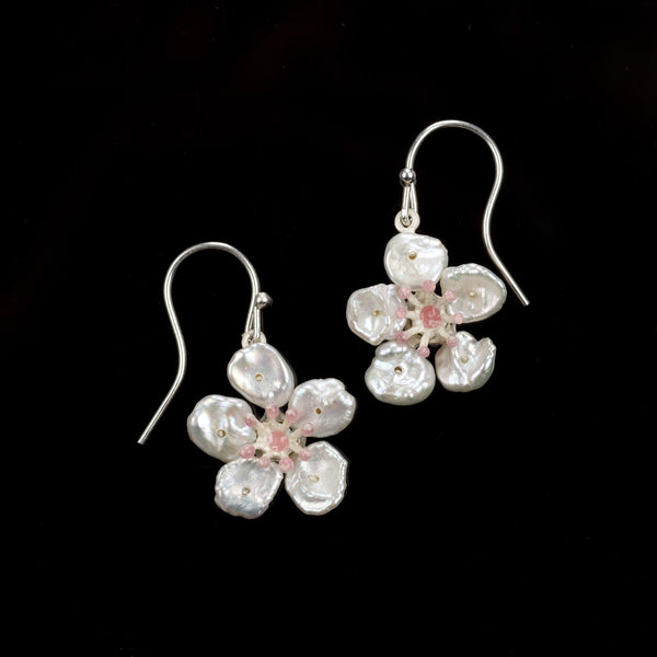 Cherry Blossom Earrings - Flower Wire Drop