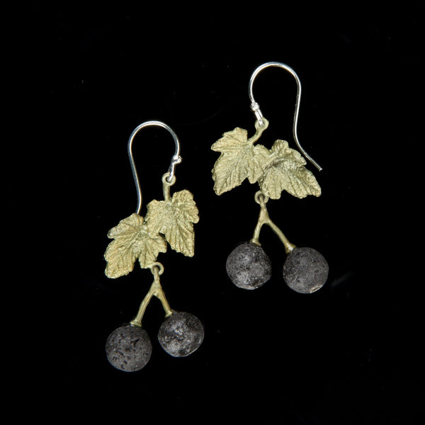 Blackcurrant Earrings - Leaf Bead Wire Drop