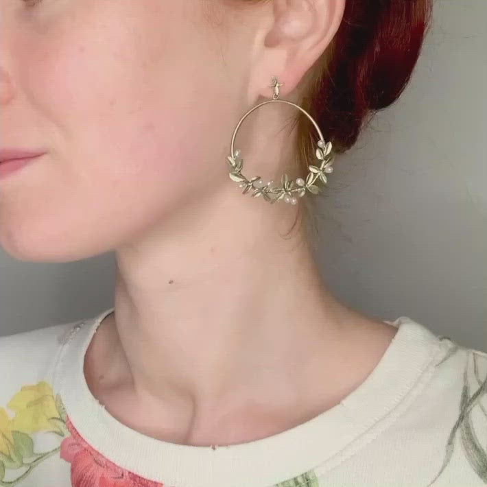 Flowering Thyme Earrings - Hoop Post