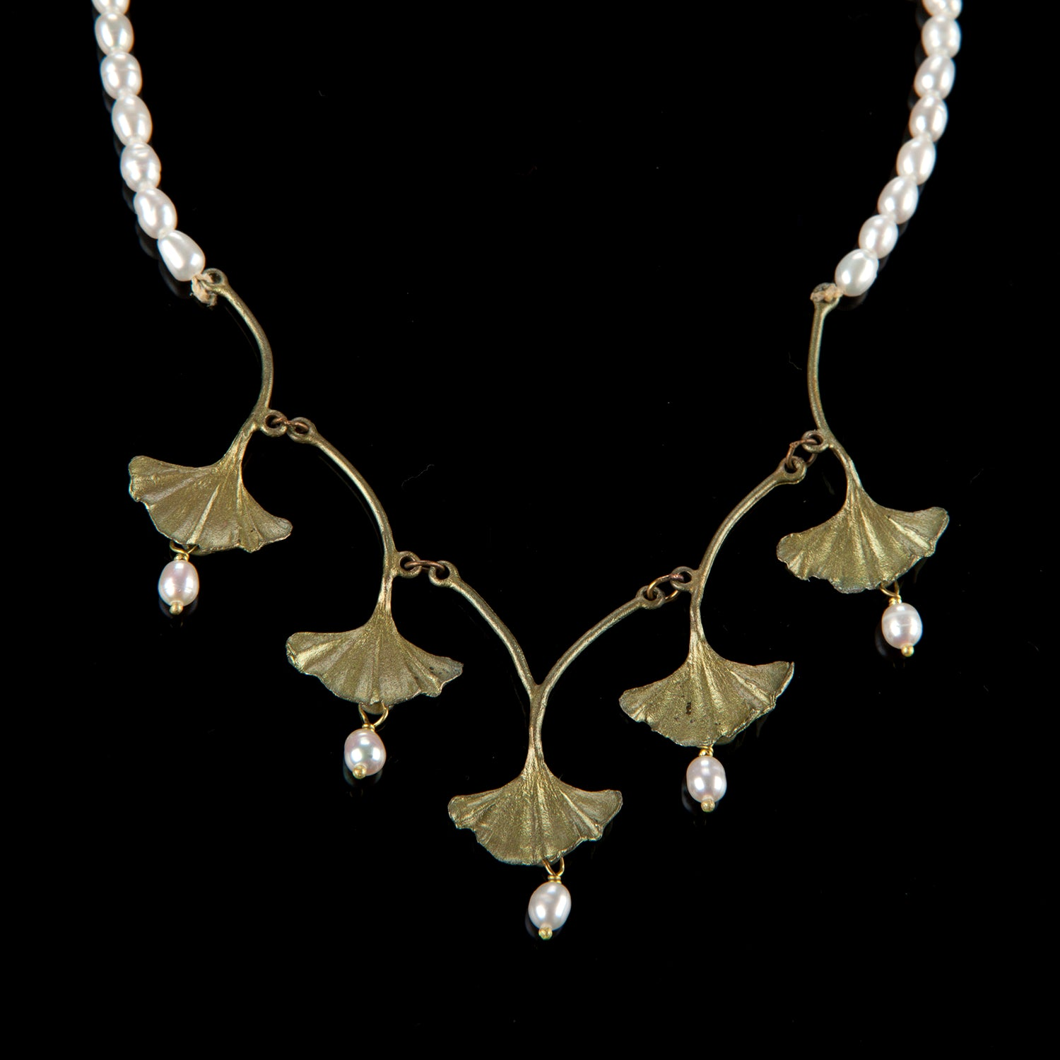 Ginkgo Necklace - Pearl Drops