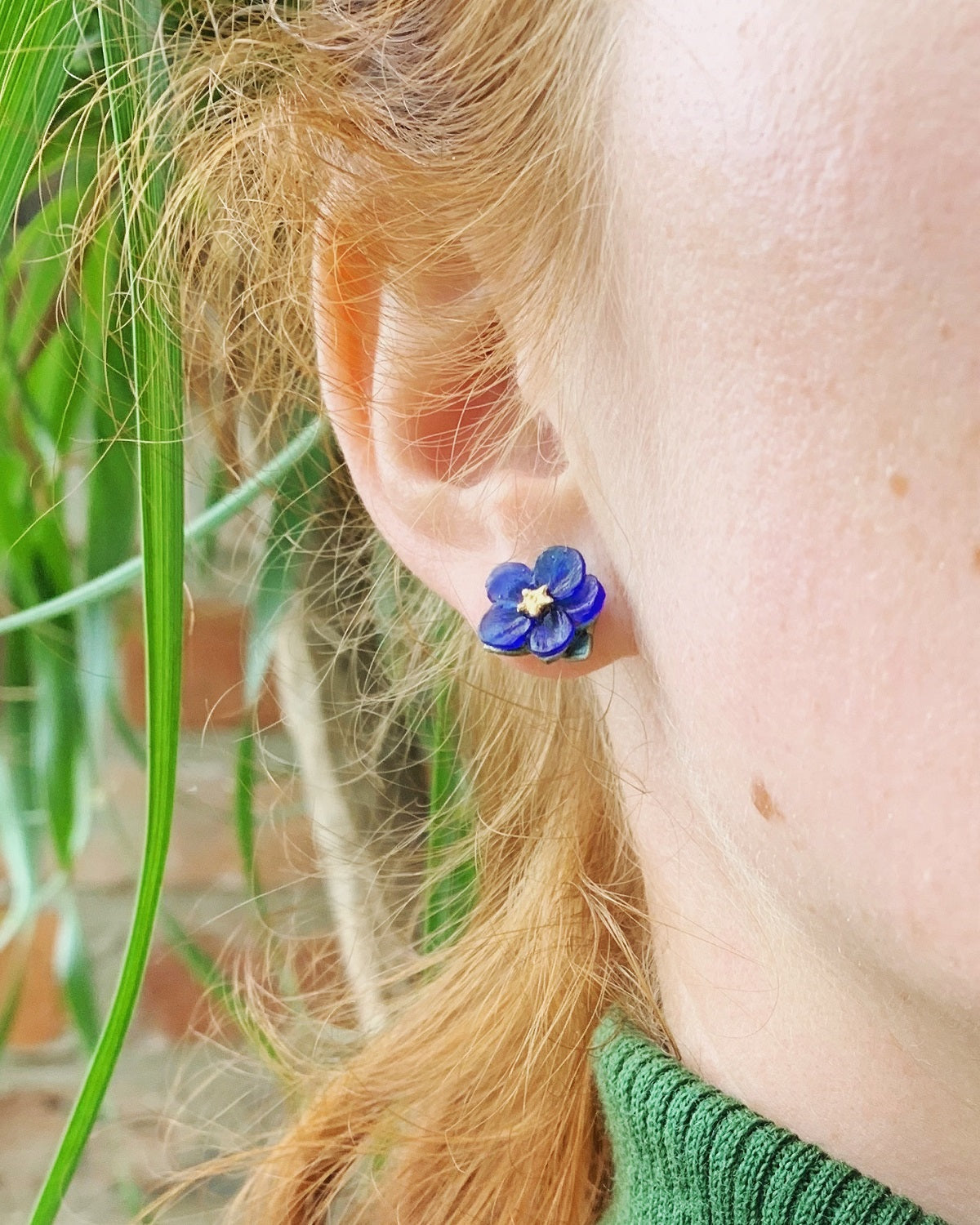 Blue-Eyed Mary Earrings - Petite Post