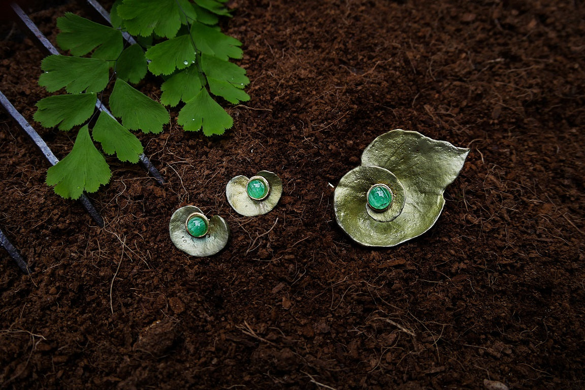 Spiral Geranium Earrings with Emeralds