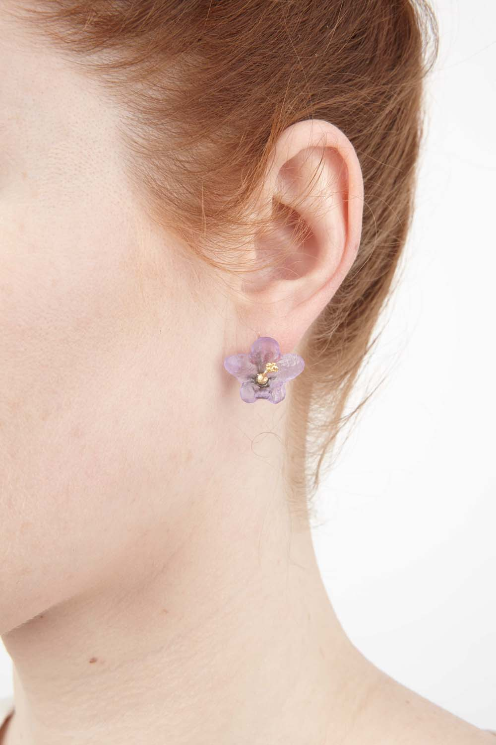 African Violet Earring - Post