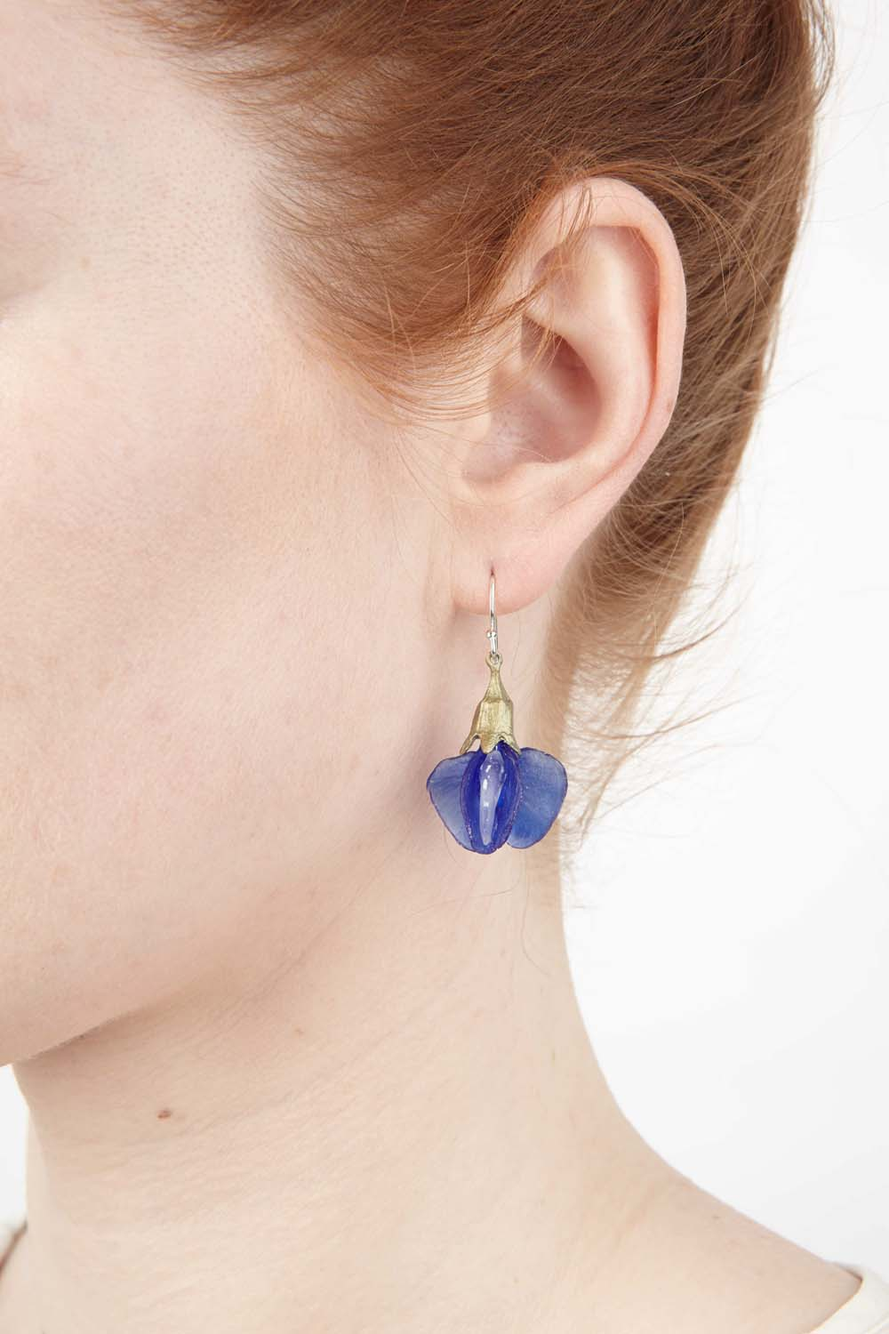 False Indigo Earring - Glass Blossom Wire