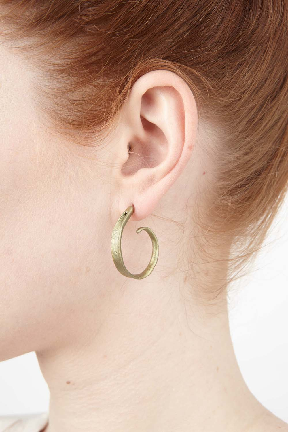 Rice Earrings - Leaf Hoop Post