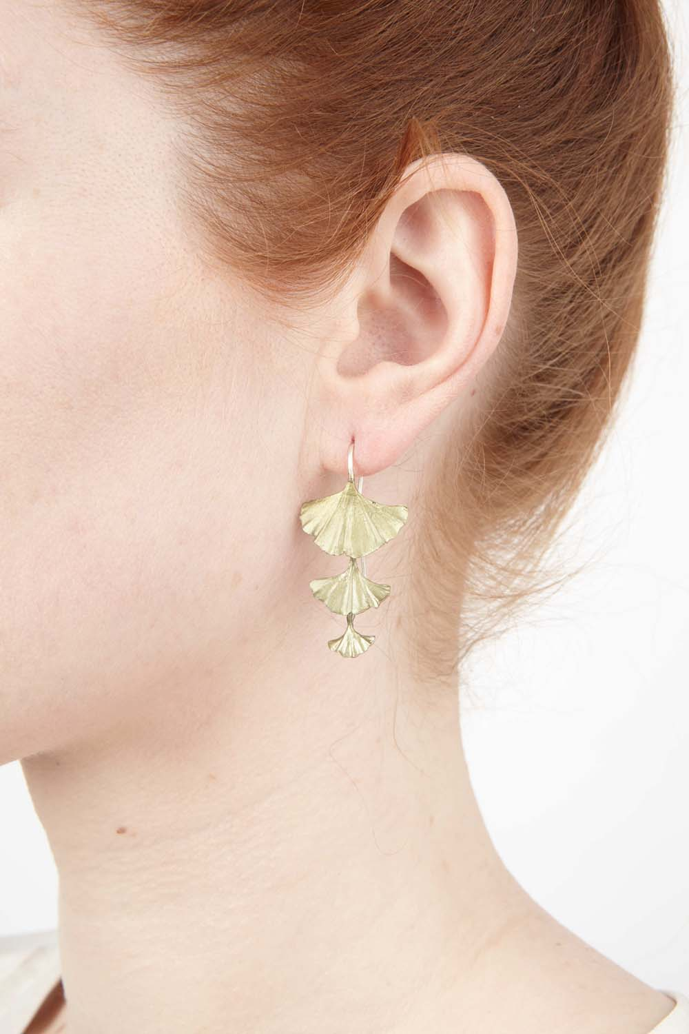 Ginkgo Earrings - Triple Leaf