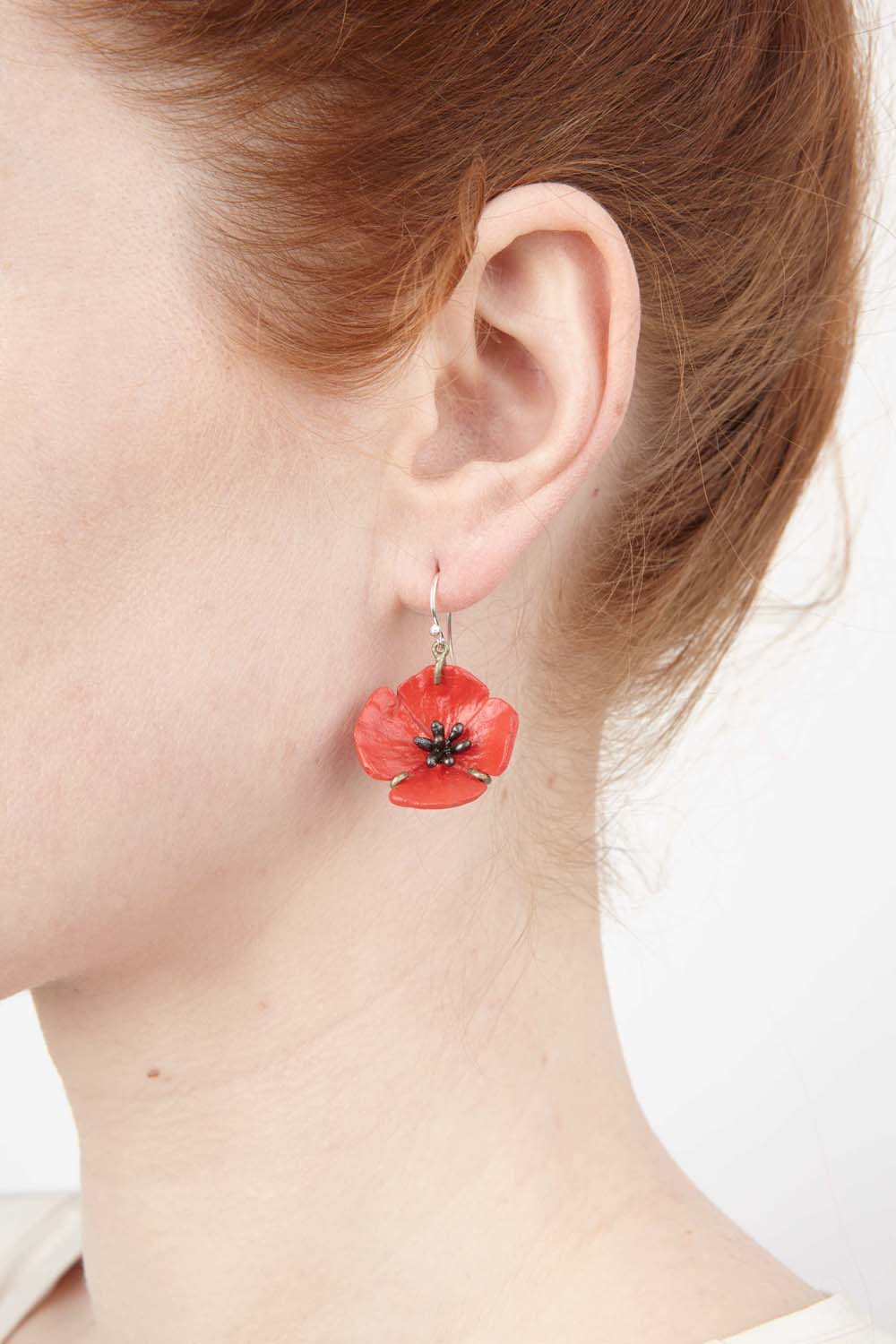 Red Poppy Earrings - Wire Drop