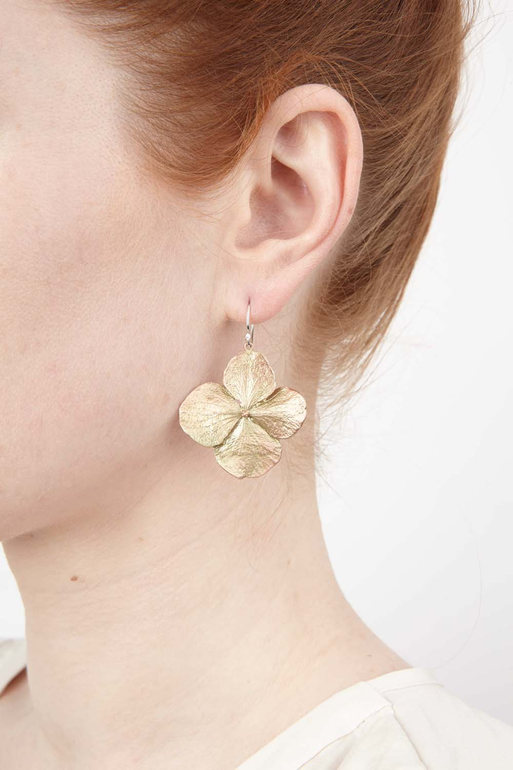 Hydrangea Earrings - Large Petal Wire Drop