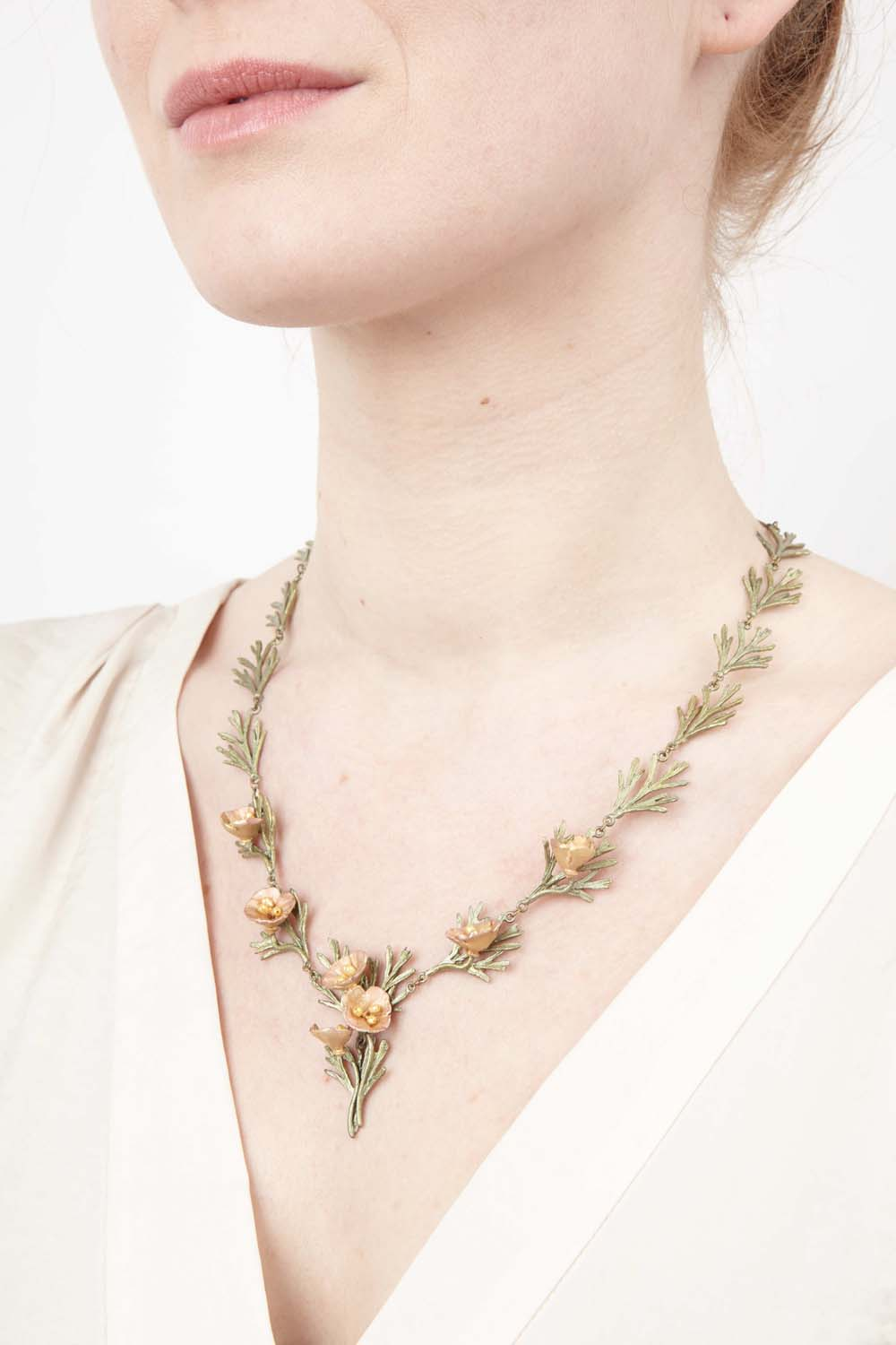 California Poppy Necklace - Leaves and Flowers