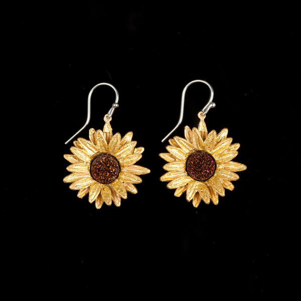 Sunflower Earrings - Wire Drop