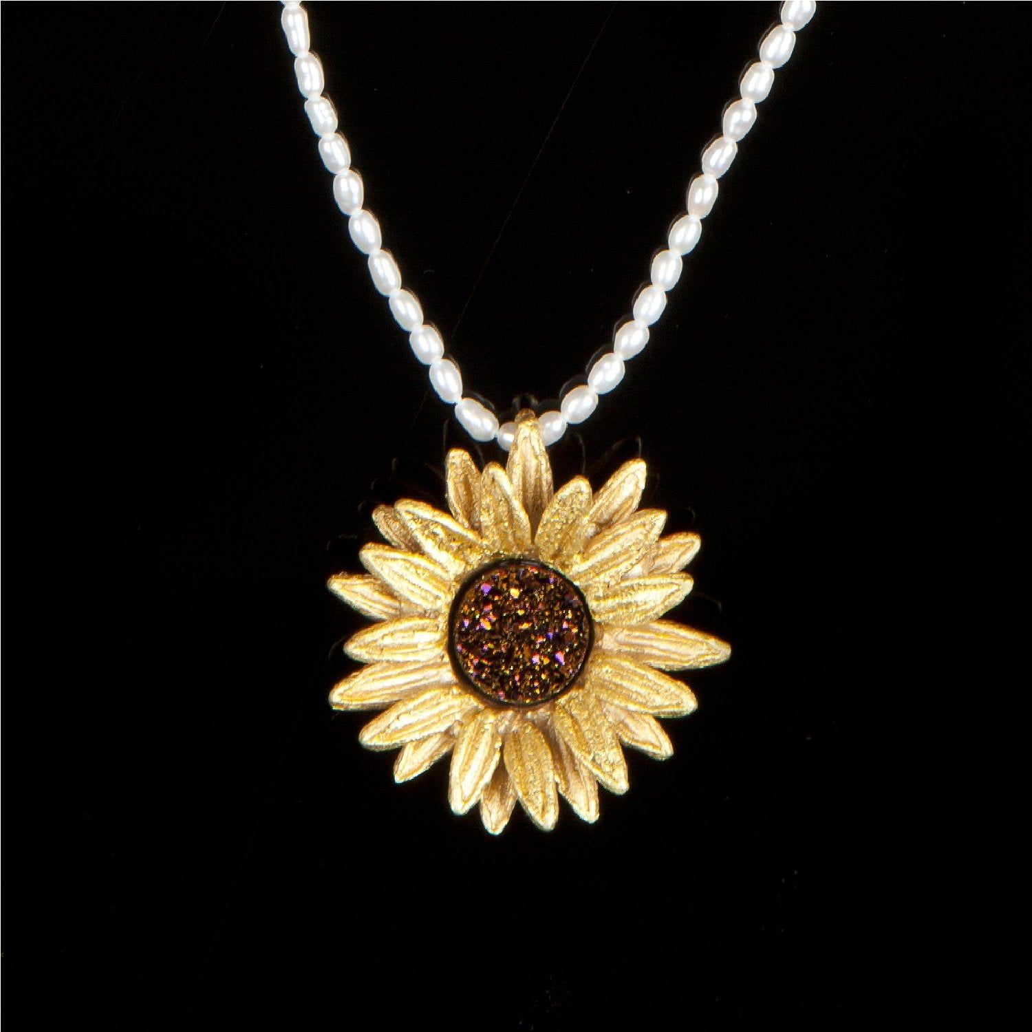 Sunflower Pendant White Pearls