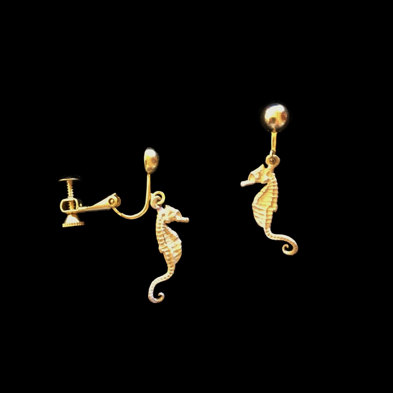 Seahorse Earrings - Screw Clip