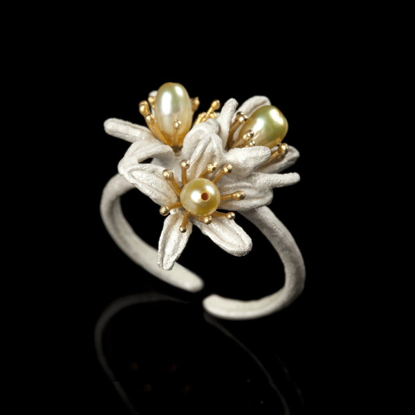 Orange Blossom Ring - Triple Flower