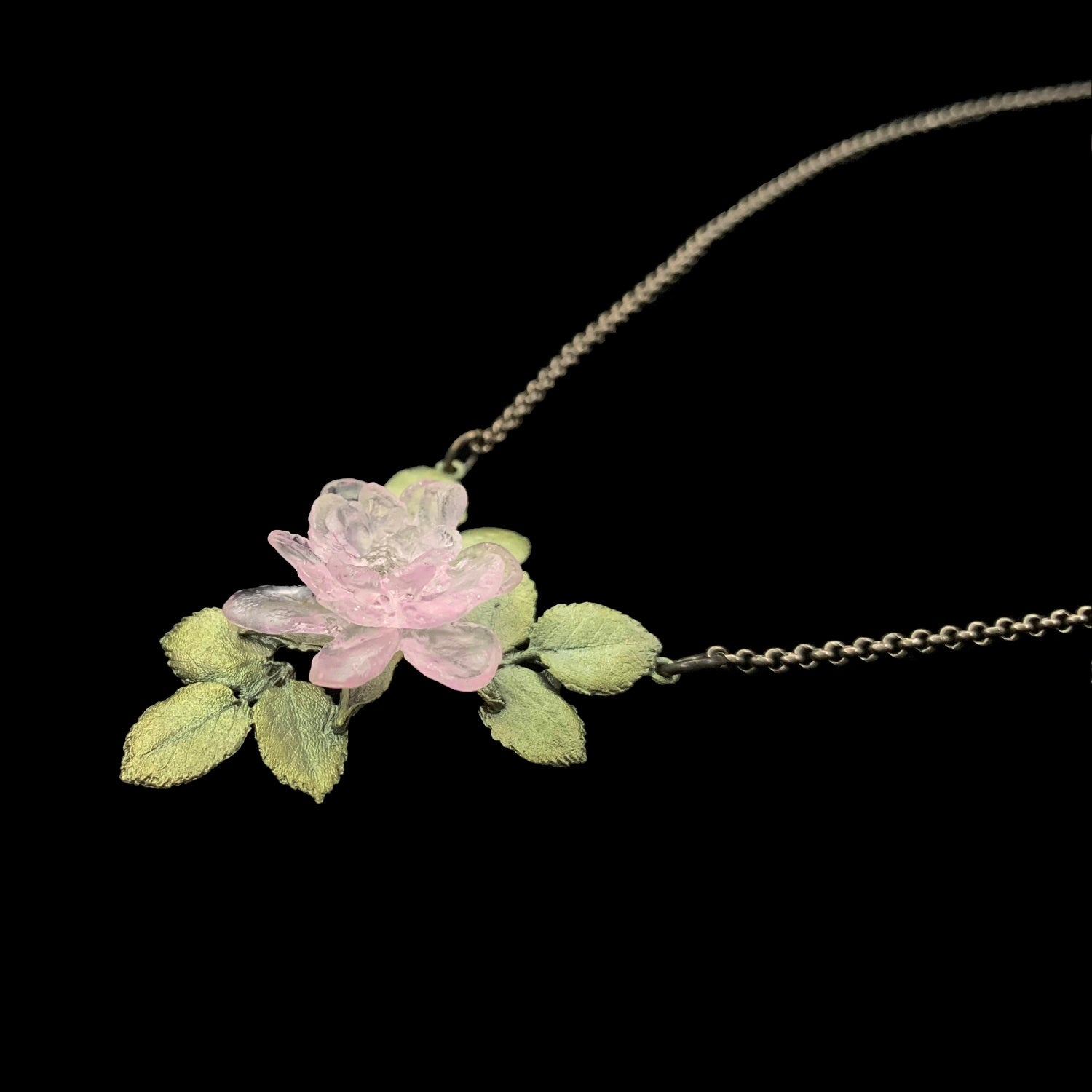 Blushing Rose Pendant - Single Flower
