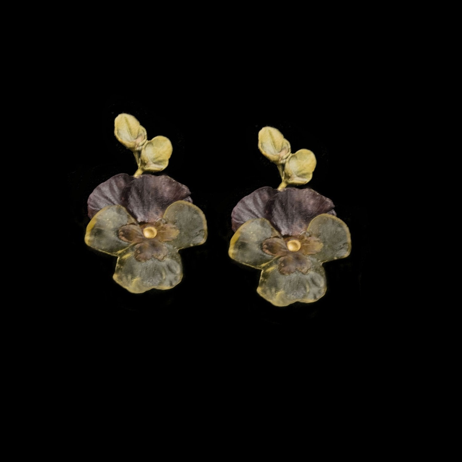 Pansies Earrings - Large Post