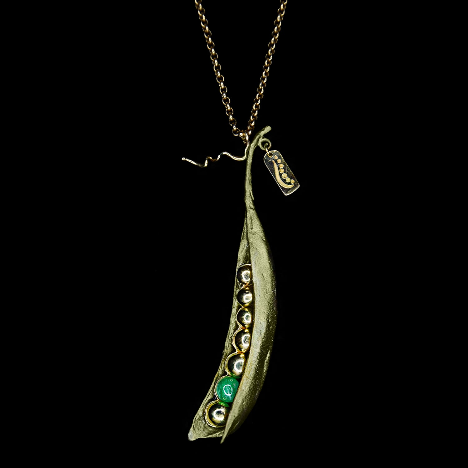 Pea Pod Pendant - Emerald with 6 Gold Peas