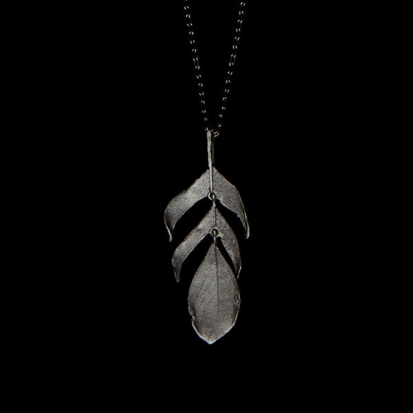 "Feather Pendant - 20"" Dangle Gunmetal"