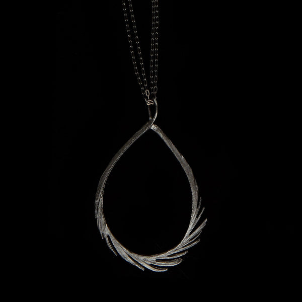 "Feather Pendant - 37"" Teardrop Gunmetal"