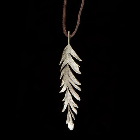 "Feather Pendant - 36"" Long on Leather Silver"