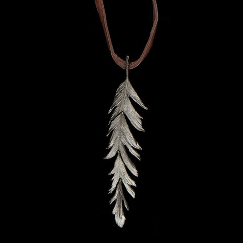 "Feather Pendant - 36"" Long on Leather Gunmetal"