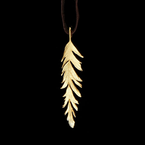 "Feather Pendant - 36"" Long on Leather Gold"