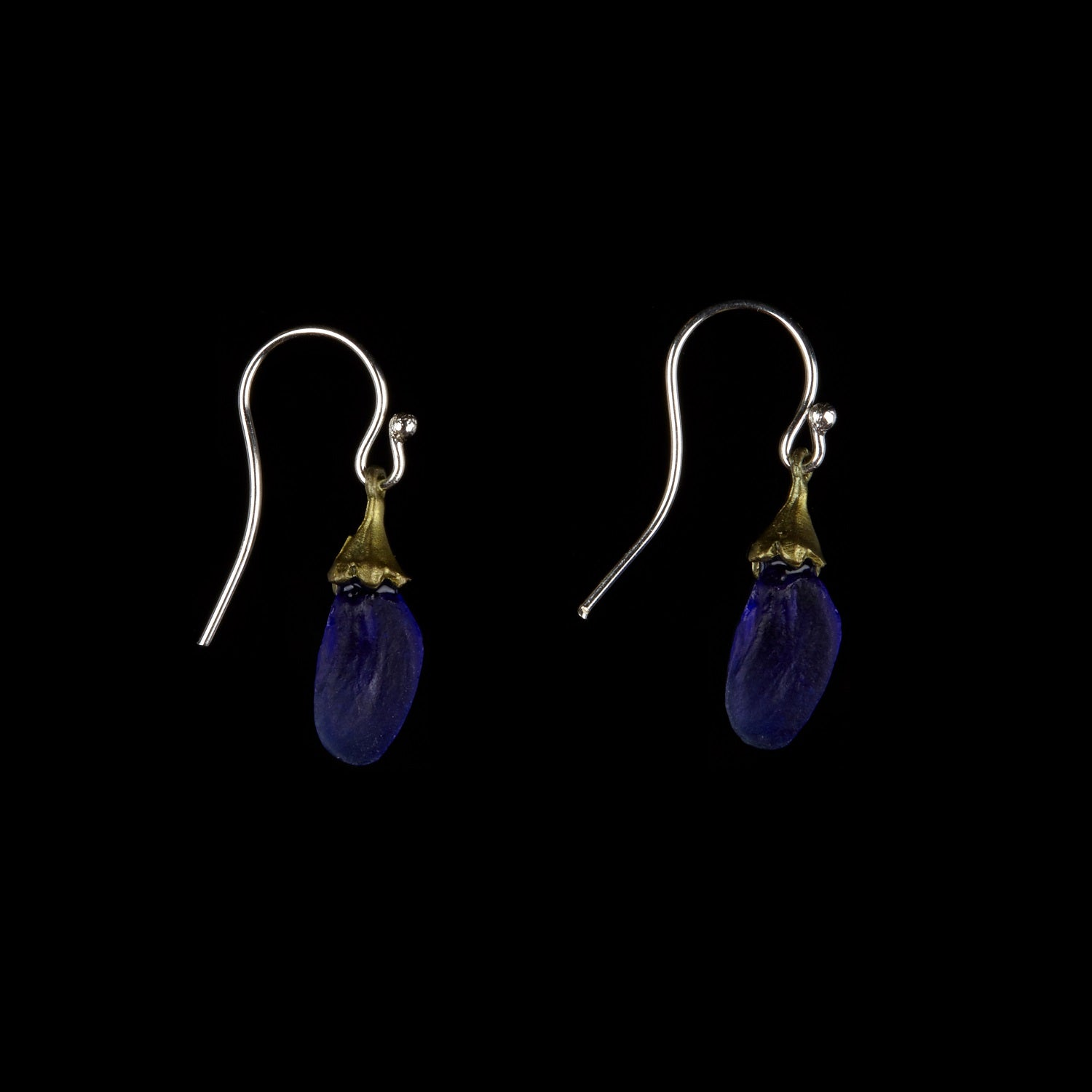 False Indigo Earring - Small Glass Bud Wire